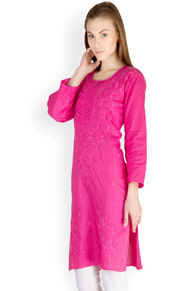 Castle Magenta Embroidered Cotton Kurti - Castle Lifestyle
