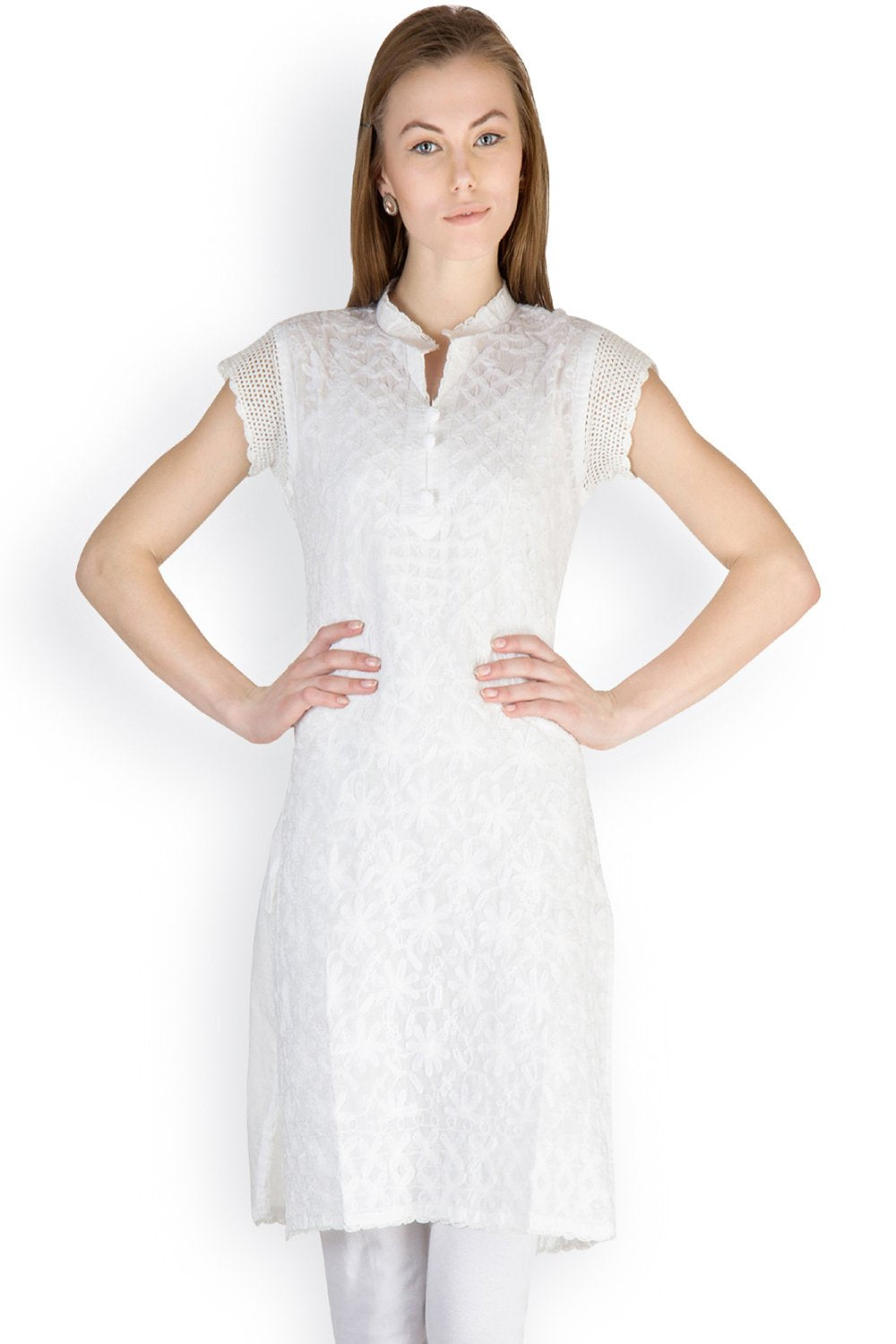 Castle White Chikankari Embroidered Cotton Kurti