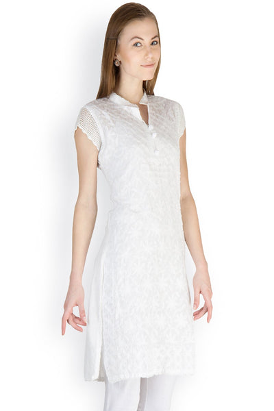 Castle White Chikankari Embroidered Cotton Kurti - Castle Lifestyle