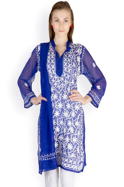 Castle Royal Blue Chikankari Embroidered Georgette Kurti With Dupatta