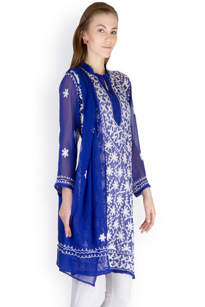 Castle Royal Blue Embroidered Georgette Kurti With Dupatta - Castle Lifestyle