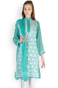 Castle Turquoise Chikankari Embroidered Georgette Kurti With Dupatta
