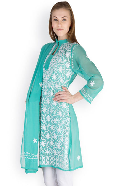 Castle Turquoise Embroidered Georgette Kurti With Dupatta - Castle Lifestyle