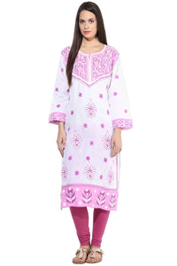 Castle Magenta Embroidered Cotton Kurta