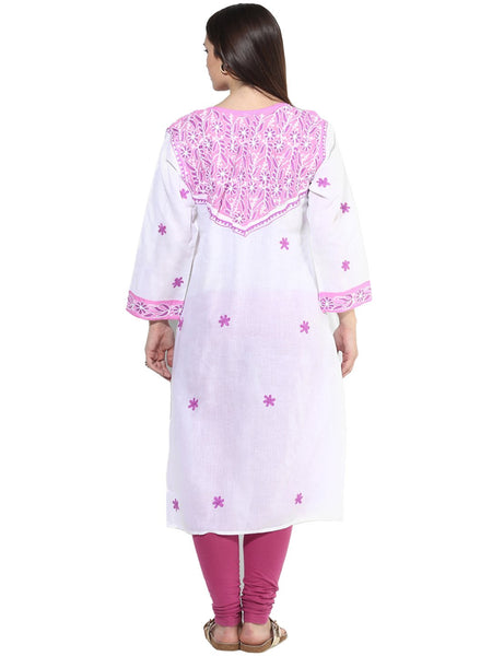 Castle Magenta Embroidered Cotton Kurta - Castle Lifestyle