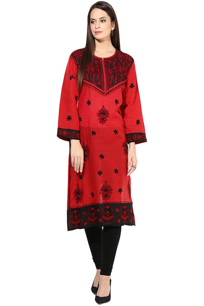 Castle Red Embroidered Cotton Kurta