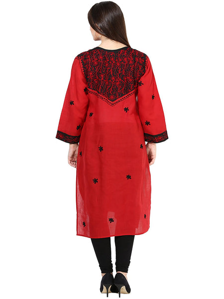 Castle Red Embroidered Cotton Kurta - Castle Lifestyle