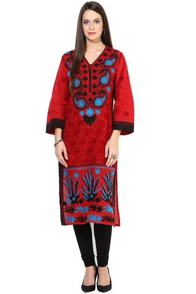 Castle Red Chikankari Embroidered Cotton Kurta