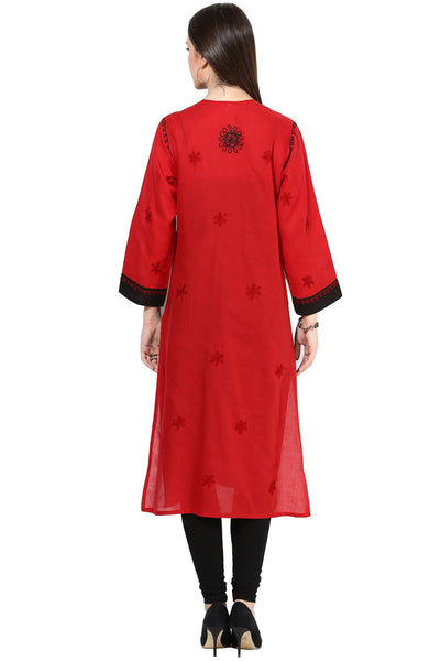 Castle Red Chikankari Embroidered Cotton Kurta - Castle Lifestyle