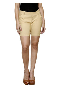 Castle Beige Cotton Spandex Shorts