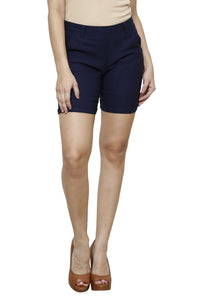 Castle Navy Blue Cotton Spandex Shorts