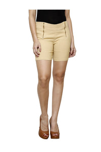 Castle Beige Double Zip Cotton Spandex Shorts