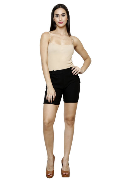 Castle Black Cotton Spandex Shorts