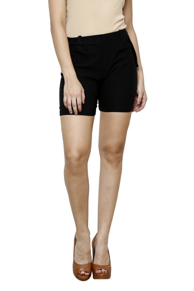 Castle Black Cotton Spandex Shorts - Castle Lifestyle