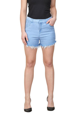 Castle Ice Blue Cut-Offs-Denim-Shorts
