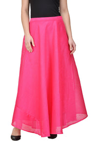 Castle Magenta Solid Raw Silk Skirt
