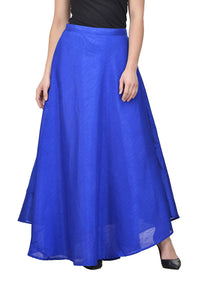 Castle Royal Blue Solid Raw Silk Skirt