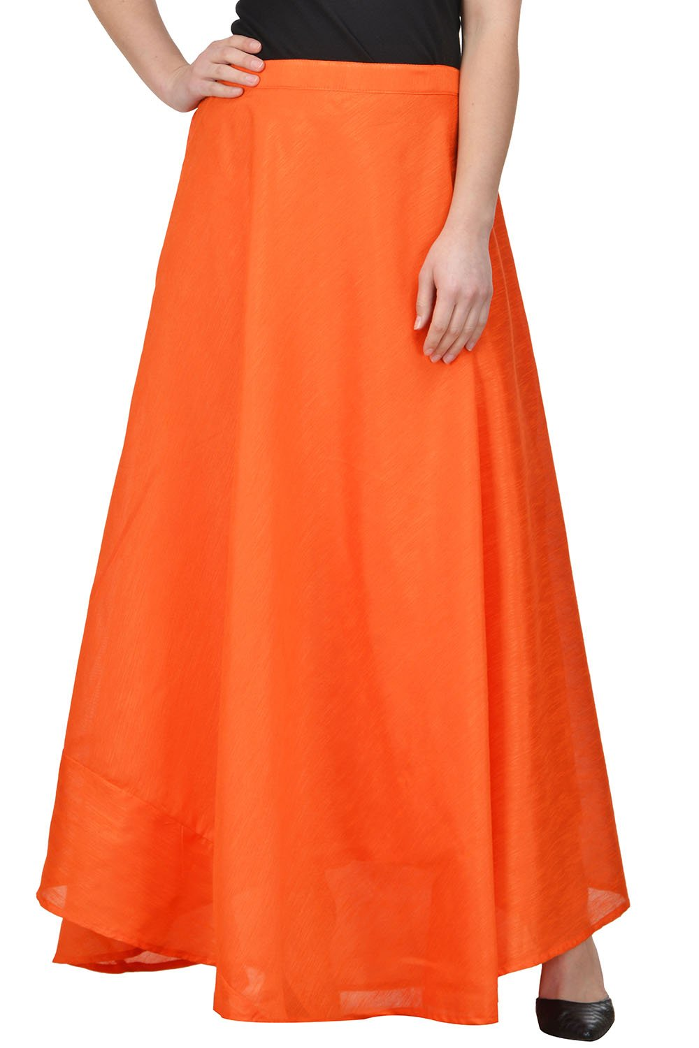 Castle Orange Solid Raw Silk Skirt