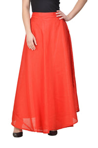 Castle Red Solid Raw Silk Skirt