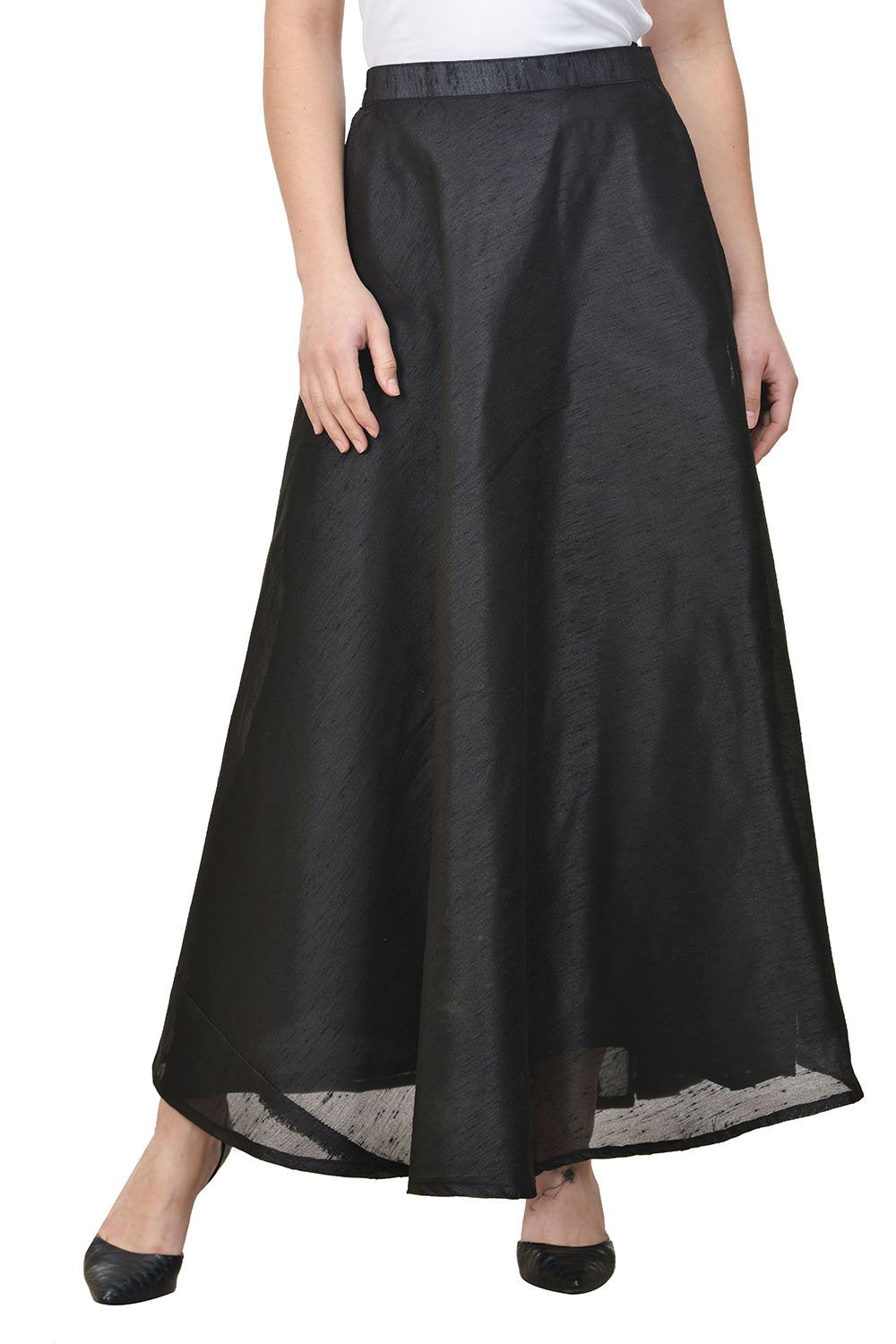 Castle Black Solid Raw Silk Skirt