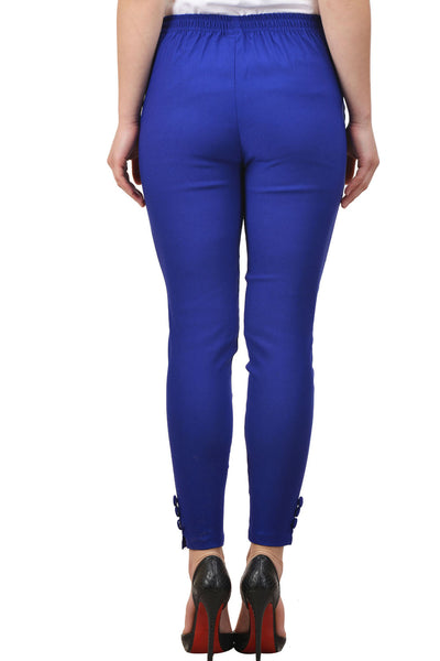 Castle Royal Blue Solid Cotton Lycra Pencil Pant - Castle Lifestyle