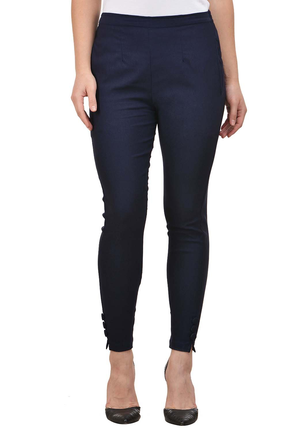 Castle Navy Blue Blue Solid Cotton Lycra Pencil Pant