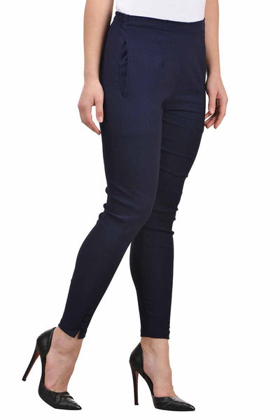 Castle Navy Blue Solid Cotton Lycra Pencil Pant - Castle Lifestyle
