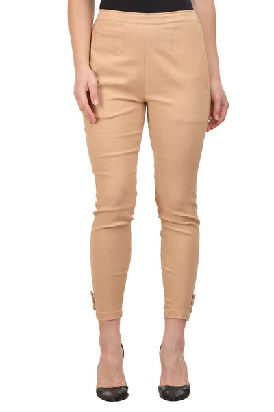 Castle Fawn Solid Cotton Lycra Pencil Pant