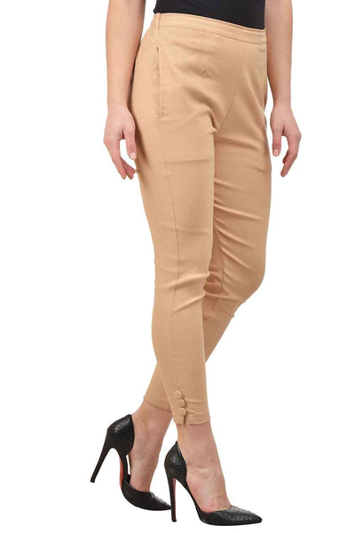 Castle Fawn Solid Cotton Lycra Pencil Pant - Castle Lifestyle