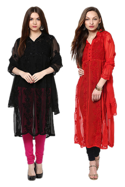 Castle Pack of 2 Embroidered Georgette Kurta