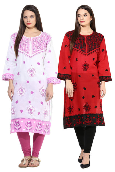 Castle Pack of 2 Embroidered Cotton Kurta