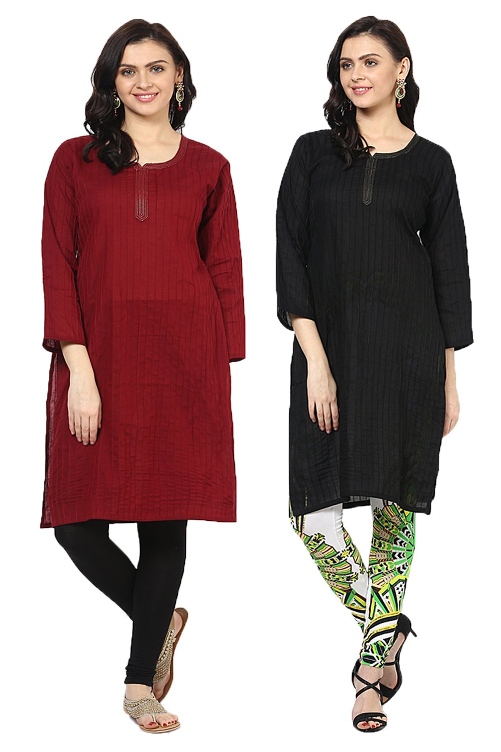 Castle Pack of 2 Solid Pintex Cotton Kurta