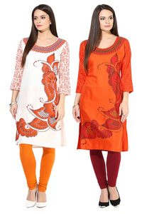 Castle Pack of 2 Printed Rayon Kurta