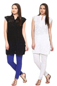 Castle Pack of 2 Embroidered Georgette Kurti
