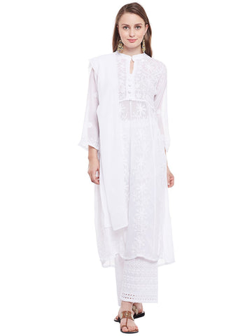 Castle White Embroidered Georgette Kurta Dupatta