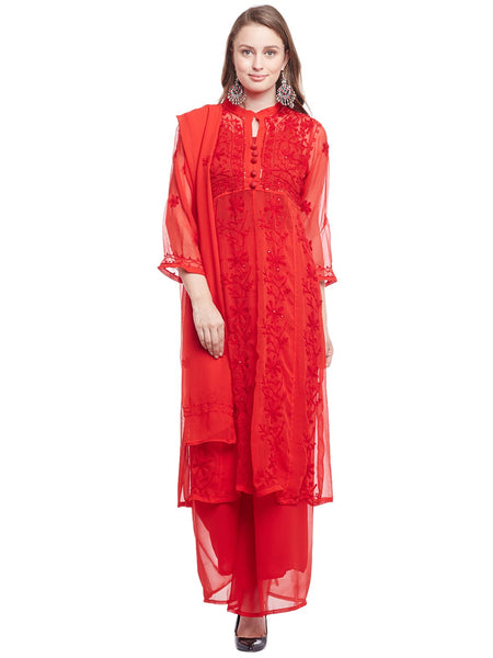 Castle Red Embroidered Kurta With Palazzo