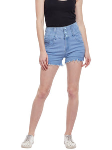Castle Ice Blue High Waist Shorts