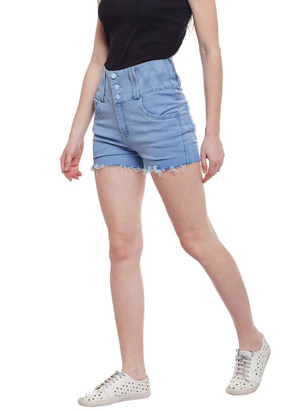 Castle Ice Blue High Waist Shorts - Castle Lifestyle
