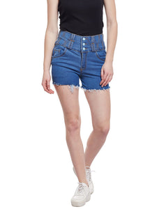 Castle Light Blue High Waist Shorts