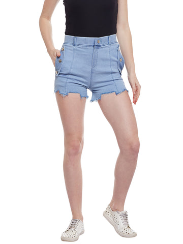 Castle Ice Blue Flap With Button Denim Shorts - Castle Lifestyle