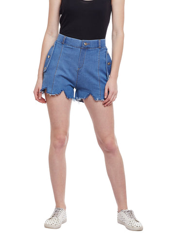 Castle Light Blue Flap With Button Denim Shorts