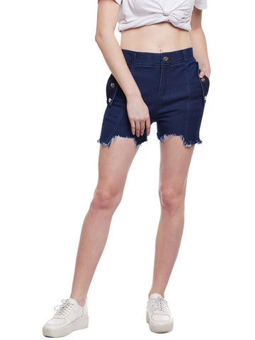 Castle Dark Blue Flap With Button Denim Shorts