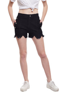 Castle Black Flap With Button Denim Shorts