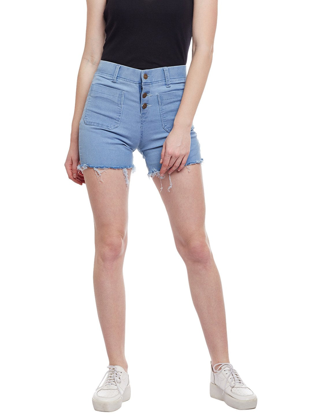 Castle Ice Blue Cut-Offs Denim Shorts