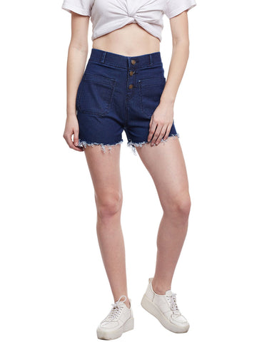 Castle Dark Blue Cut-Offs Denim Shorts