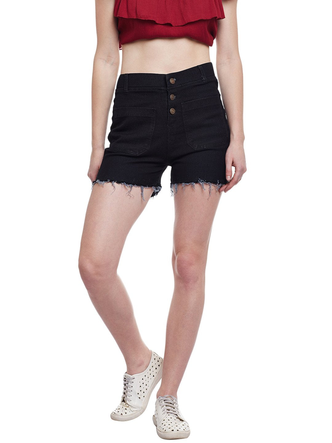 Castle Black Cut-Offs Denim Shorts