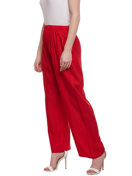 Castle Red Solid Rayon Palazzo - Castle Lifestyle