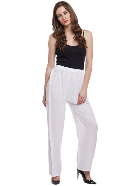 Castle White Solid Rayon Palazzo - Castle Lifestyle