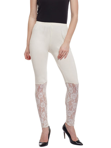 Castle White Half Net Viscose Legging