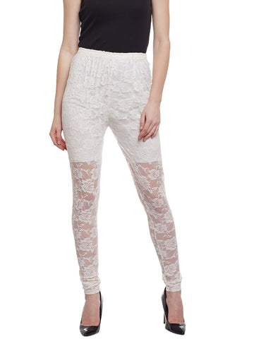 Castle Off-White Full Net Viscose Legging